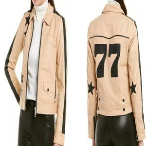 SCOTCH & SODA RETRO STAR PATCH LEATHER JACKET NWT